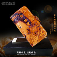 Leather iphone4s mobile phone - OLG YAT Handmade leather carving Guanyin IPhone4s s phone case Italian tanned Pure leather phone sets high end mobile phone cases
