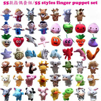 Unisex 2 years Multicolor Wholesale-2013 New 55 Styles Set Animal & People & Ocean & Fruit Finger Puppets Parent-children Toy Christmas407