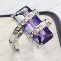 Wholesale Jewelry Fashion lady s kt white Gold filled amethyst Gemstone wedding ring size8 gift