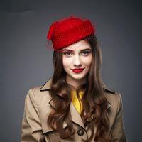 Wholesale A080 Womens Dress Fascinator Wool Felt Pillbox Hat Party Wedding Bow Veil color