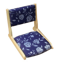antique furniture - Tatami Zaisu Chair Japanese Traditional Furniture Folding Dark Blue Fabric Natural Finish Tatami Zaisu Chair