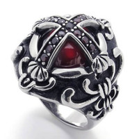 Wholesale Gothic Style Mens Womens Vampire Stainless Steel Ring with Garnet Cubic Zirconia Size US size Drop Shipping