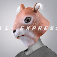 Wholesale Creepy Holloween Squirrel Head Latex Mask Animal Cosplay Costume Theater Pro Toy