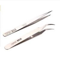 art tweezers - Stainless Steel Makeup Eyelash Nail Art Rhinestones Extension Straight amp Curved Tweezers Tool Set407