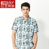 Men Short Sleeve Cotton Blend 2014 Hodo Summer Short Sleeve Print Casual Polos Beach StyleTurn-down Collar Polos 2 Colors 165-185 3020A
