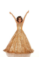 Reference Images Girl sequined Cheap 2014 Hot Sale Gold Sequins Ball Gown Floor Length Halter Glitz Grils' Pageant Dresses Little Girl's Prom Party Dresses EM02517