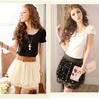 Wholesale summer skirt Fashion Chiffon Pleated dot short Elastic Waist Lace mini skirts women White Black G0193