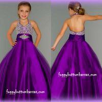 Wholesale Cheap Hot Sale Purple Beads Ball Gown Floor Length Halter Glitz Grils Pageant Dresses Little Girl s Prom Party Dresses EM02518