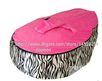 Wholesale deluxe baby bean bag toddler chair kids beanbag snuggle beds child nursey pods COVER TOPS ZEBRA PINK TOP COVER