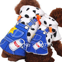 Bandanas, Bows & Accessories Dogs 26 cm Casual Cute Milk Cow Soft Warm Flannel Dog Cat Clothes Apparel With Blue Pants Print Coat Dog Clothing Winter Costumes 1pcs lot