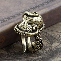alternatives set - Bronze Men s ring size adjustable octopus European and American models jewelry personalized alternative style retro copper jewelry
