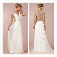Sheath/Column Model Pictures V-Neck Custom Made 2014 New Arrival Chiffon Crystal Beaded Beach Wedding Dress Low Back Grecian Goddess Style Wedding Gown