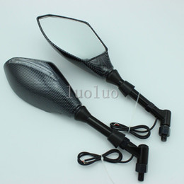 MOTORCYCLE CARBON STREET BIKE REARVIEW MIRROR W  TURN SIGNALS INDICATORS Clear
