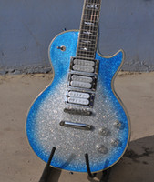 Wholesale New Style Ace frehley signature electric guitar silve blue Bright body ebony fingerboard