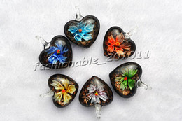 Heart Flower Multi-Color Lampwork Murano Glass Pendants Necklaces Wholesale Retail FREE #pdt94