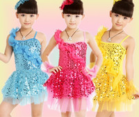 ballet performance dress - Shinning Sequins Veil Girls Dance Clothes Dresses Children s Dancewear Performance Dress Kid s Modern Ballet Latin Dance Stage Costume J0709
