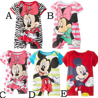 Cheap Unisex baby rompers Best Summer 100% Cotton mickey infant clothes