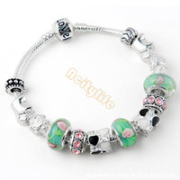 Wholesale 2014 NEW Arrival Fashion European Style Silver Charm Bracelet with Green Murano Glass Beads DIY Fashion Jewellery SV003717