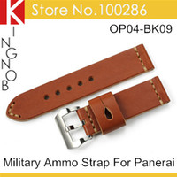 Wholesale Italy Calf Skin Genuine Leather Watchband mm Military Ammo Watch Band Strap For Panerai Watch PAM With Buckle 407