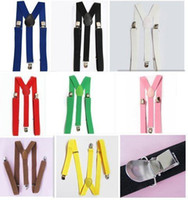Wholesale Free Shiping colors Unisex Braces Suspenders Y back Neon Plain Adjustable Clip on Elastic Thong Mens