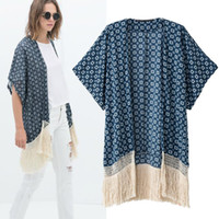 Wholesale 2014summer top women geometric print cotton blend kimono cardigan short sleeve tassel boho coverup streetwear poncho