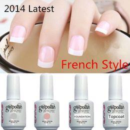 Wholesale Shellac Gelishgel French White Pink color UV LED Soak Off Gel Nail Polish French Tips top basecoat Foundation