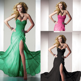 Wholesale Elegant Sweetheart Corset Long Dresses Bridesmaid Spring Open Back Prom Party Gowns With Slit Evening Prom Dresses