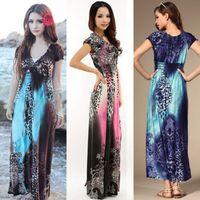 Cheap Casual Dresses Fashion Sundress Best V_Neck Sheath Boho Long Dress