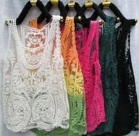 Wholesale Hot Sale Embroidery Floral Lace Blouse Crochet Tops Tee T Shirt Sleevess Vest Camisole Dress big loose color size