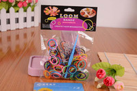 Unisex Toy Sets 24 Months & Up Wholesale - Glow IN THE DARK 200pcs 12 pcs S Rainbow Loom bands kit bracelet Colorful Rubber Bands amazing gift for children Mix colors hand