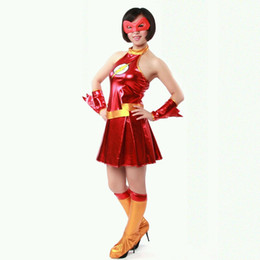 THE FLASH FEMALE MODELS RED METALLIC SUPERHERO COSTUMES Halloween Cosplay Party Zentai Suit