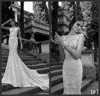 Trumpet/Mermaid Reference Images Spaghetti 2014 Berta Fantastic Sweetheart Spaghetti Straps Jewel Beaded Chapel Train Sexy Mermaid White Lace Wedding Dress Wedding Bridal Gowns