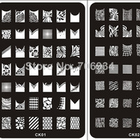 UV Gel Nail Art Set Yes Template Nail Stamping Plates stamper Konad Nail Plate 2Pcs Stamp Image Plate Nail Art Stamping Kit DIY Image Plate Template CK01-18