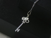 Pendant Necklaces Women's Fashion Korean pop charm jewelry classic wild super cute flash micro crystal beads inlaid silver-plated key necklace 8040