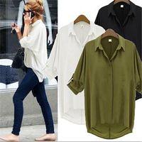 Women Polyester Button 2014Fashion New Elegant Chiffon for Women Solid Full Sleeve Button s Shirts Women Turn-down Collar Shirts Tops Lady