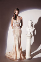 Reference Images V-Neck Organza Dany Tabet Prom Party Gown New Fashion Elegant Sexy Sweetheart Sleeveless Beige Lace Beading Long Mermaid Celebrity Evening Dresses 2014