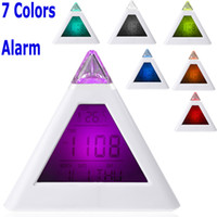 Mechanical OEM H10296 Single 7 LED Color Changing Pyramid Digital LCD Alarm Clock Thermometer C F Desktop Table Clocks Despertador Weather Station