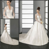 Wholesale Sheer Wedding Dress with Long Sleeves V Neck Kate Middleton Bridal Gowns Appliques Satin Chapel Train Cathedral A Line Wedding Dresses