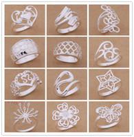 24pcs mezcló orden / lot 925 plateó los anillos de joyería de moda estilo de la fiesta de calidad superior envío libre del regalo de Navidad