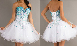 Wholesale Custom Made Crystal Bead Sequins Sweetheart Neckline HOmecoming Dresses Corset Tie Back Sexy Short Prom Dress Junior GIrls Graduation Gowns