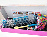 Wholesale Magical Loom New Rainbow Loom Kit Super fun rubber band bracelet making kit with colorful bands Beads clips