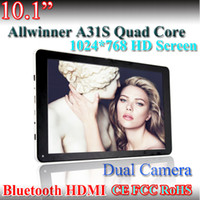 Wholesale 10 Inch A31S Quad Core Tablet PC GB ROM GB flash Bluetooth HD Ghz Dual Camera Android HDMI Capacitive screen