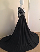 Reference Images V-Neck Satin 2014 New Hot Sexy Hollow Vintage Lace V Neck Bodice Satin Skirt Evening Dresses Black Court Train Full Long Sleeve Zipper Prom Formal Gowns