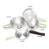Wholesale ALOCS CW C15 Outdoor Camping Hiking Cookware Backpacking Cooking Picnic Pot Pan Set Persons