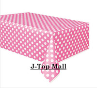 Wholesale 600pcs Polka Dot HOT PINK Tablecloth Plastic Table Covers for Party Wedding Tableware Decoration X220cm