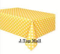 Wholesale 600pcs Polka Dot Tablecloth Plastic Table Cover YELLOW PINK BLACK GREEN Blue Red for Party Wedding Tableware Decoration X180cm