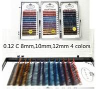 Wholesale Natural False Fake Eyelash Extension Color Mink Eyelashes Korea Pro Individual Human Hair Eye Lashes mm C Curl E808