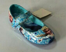 Wholesale 2014 hot sell elsa and anna shoes blue girls flats kids children princess shoes