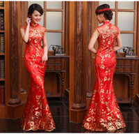 Wholesale Chinoiserie New Chinese Dresses Sheer Cap Sleeve High Neck Gold Embroidery Mermaid Red Evening Vintage Cheongsam Floor Length DL1312796