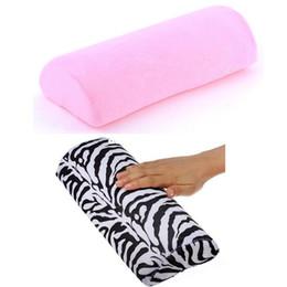 Wholesale-5 x New Nail Art Hand Cushion Pillow Zebra pink Colors Arm Rest Nail Art Product 6239-6240407